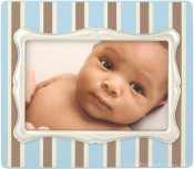 Blue Pinstripe Baby Picture Frame