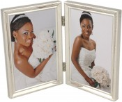 Beaded Narrow Silver Plated Double Picture Frame