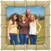 Bamboo Jeweled Gold Square Picture Frame