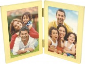 Engravable Brass Double Picture Frame