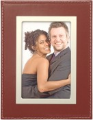 Red Leather Picture Frame with Silver Trim