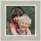 Slate Grey Enamel Square Silver Plate Picture Frame