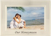 Brushed Silver Our Honeymoon Picture Frame