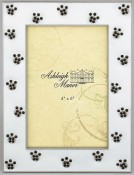 White Jeweled Cat Paws Picture Frame