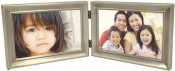 Brushed Pewter Hinged Horizontal Double Picture Frame