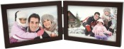 Simple Wood Espresso Horizontal Double Picture Frame