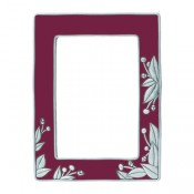 Cinnabar Red Botanical Garden Frame in Solid Pewter