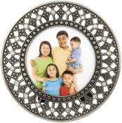 Filigree Jeweled Round Picture Frame