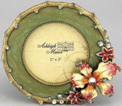 Green Corsage Round Picture Frame