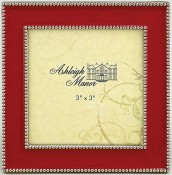 red beaded square picture frame