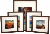 Set of 5 Walnut Matted Gallery Picture Frames