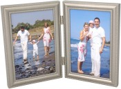 Beaded Pewter Double Picture Frame