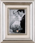 Decorative Silver Leaf Frame with Silk Mat