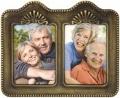 Antique Solid Brass Double Picture Frame