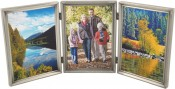Brushed Pewter Triple Picture Frame with Beading