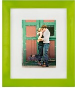 Glazed Green Metal Picture Frame with White Mat