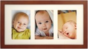 Simple Walnut Wood Matted Triple Picture Frame