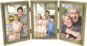 Brushed Brass Beaded Triple Picture Frame