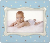 Blue Polka Dot Baby Picture Frame