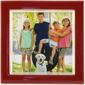 Red Enamel Square Silver Plate Picture Frame