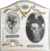 Satin Silver Plated 50th Anniversary Picture Frame