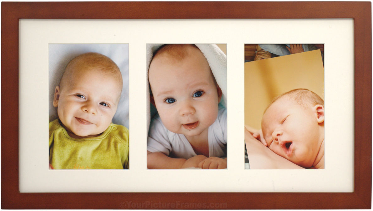 Simple walnut wood matted triple picture frame image 1 jeuxipadfo Choice Image