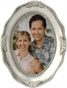 Decorative Silver Leaf Oval Frame
