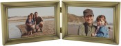 Antique Brushed Brass Hinged Horizontal Double Picture Frame