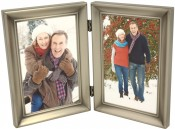 Brushed Pewter Hinged Double Picture Frame