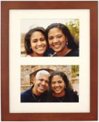 Simple Walnut Wood Matted Double Picture Frame