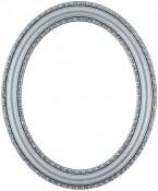 Melinda Silver Leaf Black Oval Picture Frame