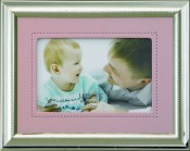 Silver Picture Frame with Pink Vinyl Mat