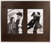 Dark Brown Wood Mat in Metal Double Frame