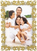 Flaxen Gold Jeweled Picture Frame