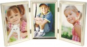 Beaded Narrow Silver Plated Triple Picture Frame