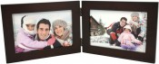 Basic Wood Brown Horizontal Double Picture Frame