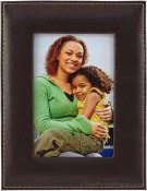 Brown Saddle Stitched Leather Picture Frame