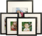 Set of 5 Black Matted Gallery Picture Frames