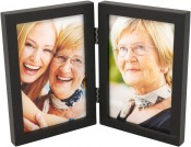 Simple Wood Black Double Picture Frame