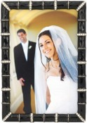 Black Bamboo Jeweled Picture Frame