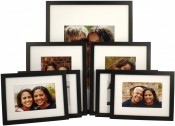 Set of 7 Black Matted Gallery Picture Frames