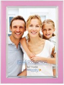Rosy Pink Enamel Silver Plate Picture Frame