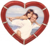 Red Jeweled Heart Picture Frame