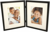 Simple Wood Black Hinged Double Picture Frame