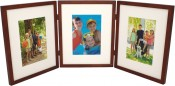 Simple Wood Walnut Hinged Triple Picture Frame