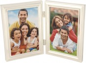 Silver Bead Double Picture Frame
