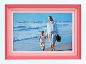 White and Pink Frame with Wood Mats