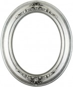 Emma Silver Leaf Black Oval Picture Frame