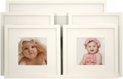 Set of 5 White Matted Gallery Picture Frames
