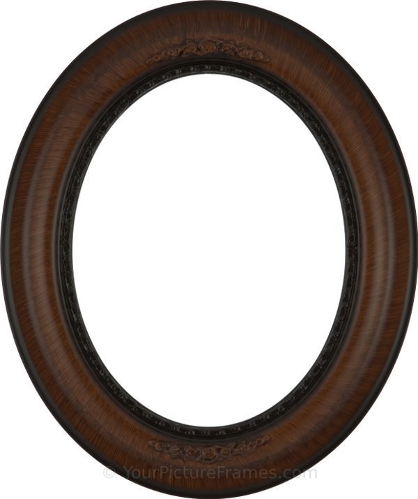 Ava Vintage Walnut Oval Picture Frame